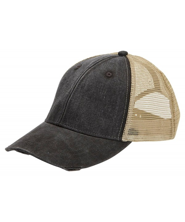 Adams Cap mens 6-Panel Pigment-Dyed Distressed Trucker Cap(OL102) - Black/tan - C511JLJ1J7B