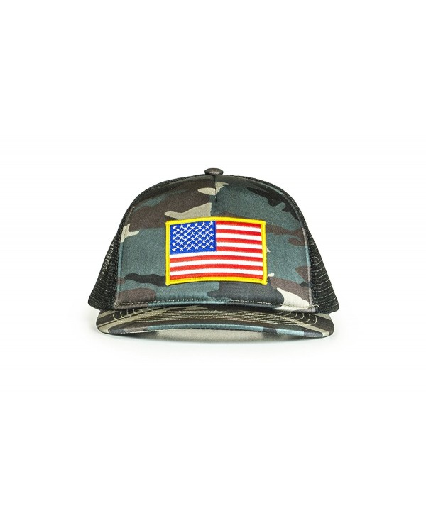 Cowbucker USA Mesh Trucker Hat (Snapback Baseball Cap) - American Red- White- Blue USA Hat - Camouflage - CX183X2EQD7