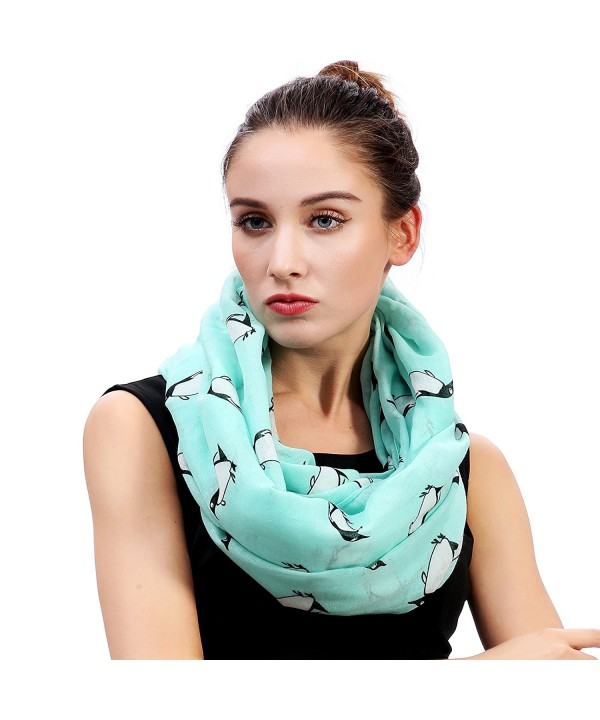 Lina & Lily Penguin Print Infinity Loop Women's Scarf - Mint Green - C3184RQS6O7