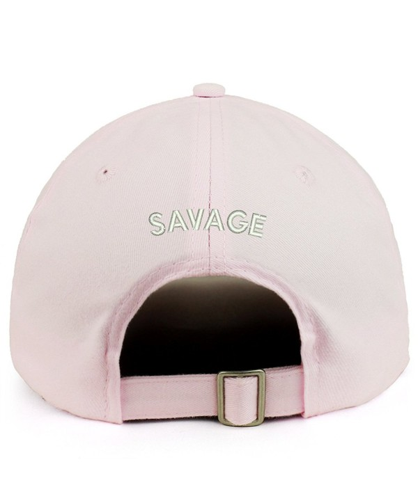 Trendy Apparel Shop Savage (Back) Embroidered 100% Cotton Dad Hat - Light Pink - CI189D6KR96