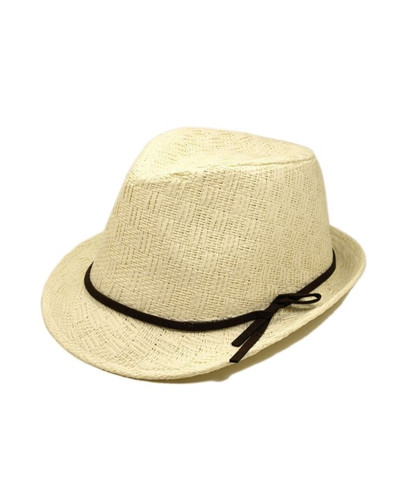 Young Adult Teen's (6-12) White Fedora Straw Hat - CU1109WLCAH