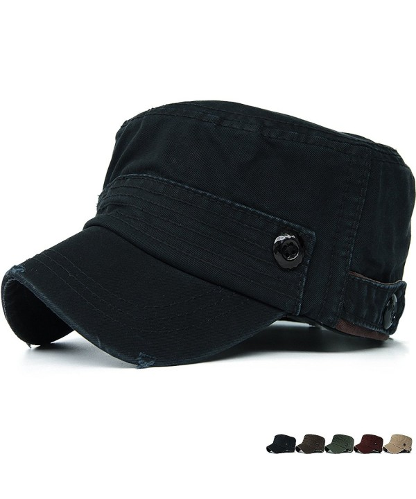 REDSHARKS Cadet Caps Military Hats Fit For Unisex Adult Plastic Button Stripe - Black - C211Z0GW96J