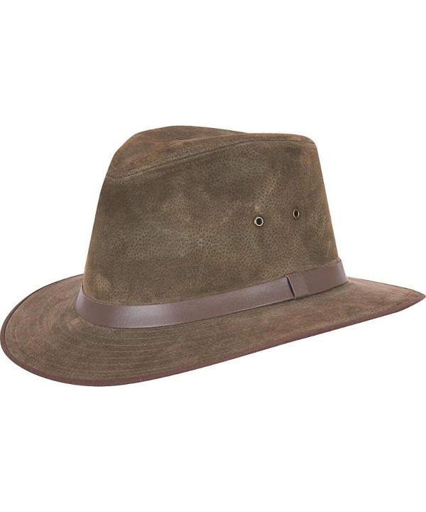 Wilsons Leather Mens Sueded Leather Safari Hat - Olive - CV11PRK84QH