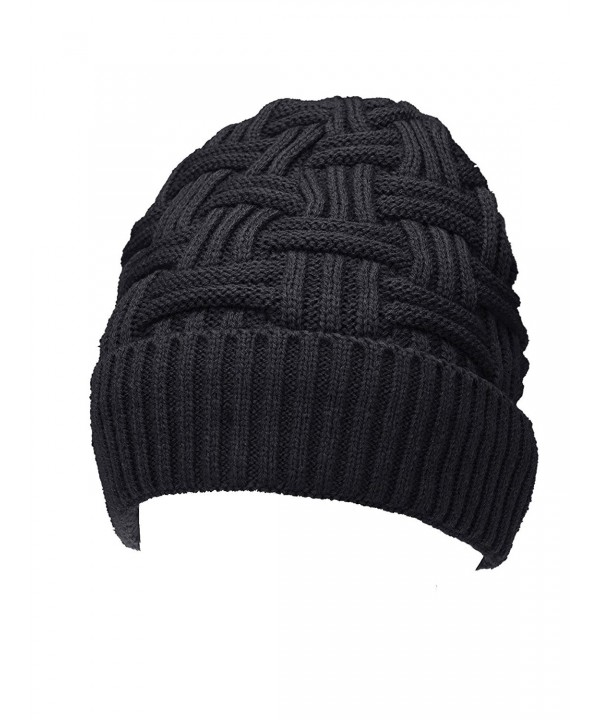 eBoot Beanie Winter Knit Hat Crochet Skull Cap Warm Slouchy Hat With Lining - Black - CE12NTZWPWY