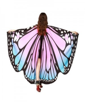 VESNIBA Prop Soft Fabric Butterfly Wings Shawl Fairy Ladies Nymph Pixie Costume Accessory - B-pink - CZ185U9Y4X0