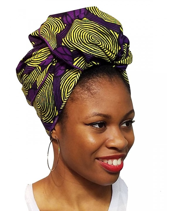 Yellow and Purple African Print Ankara Head wrap- Tie- scarf- Multicolor- One Size - CV12O0S4VTN