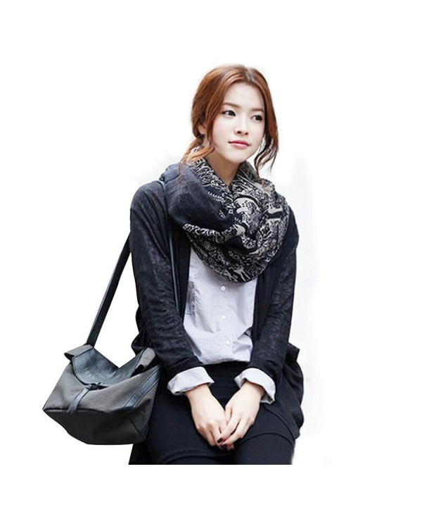 Yoyorule Korean Deer Pattern Cotton Long Scarf Autumn Winter Shawl - Black - CN127OR6Y0D