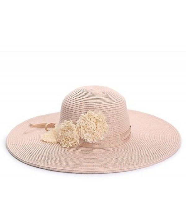August Accessories Floral Floppy Hat in Blush - CA17YLH0HNU