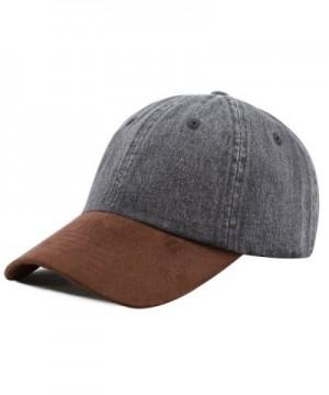 The Hat Depot Unisex Washed Low Profile Denim Suede Bill Cotton Plain Cap - Black With Brown Suede - CQ12NRZPRQI