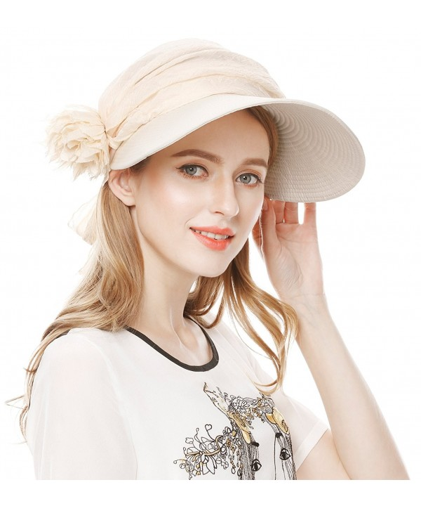 Lovful UPF 50+ Womens Foldable Wide Large Big Brim Beach Hat Cap Summer Sun Hat - Beige - CD12FS1DUG3