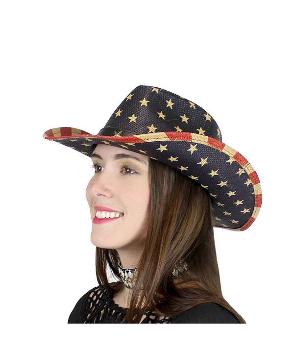 Old Glory Western Straw Hat USA American Flag - Star - CI17X655RWI