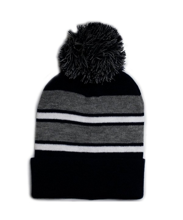 City Hunter Sk908 Winter Basic Stripe Pom Beanie Hats 30 Colors - Black/Light Grey - CZ1867NYDG0