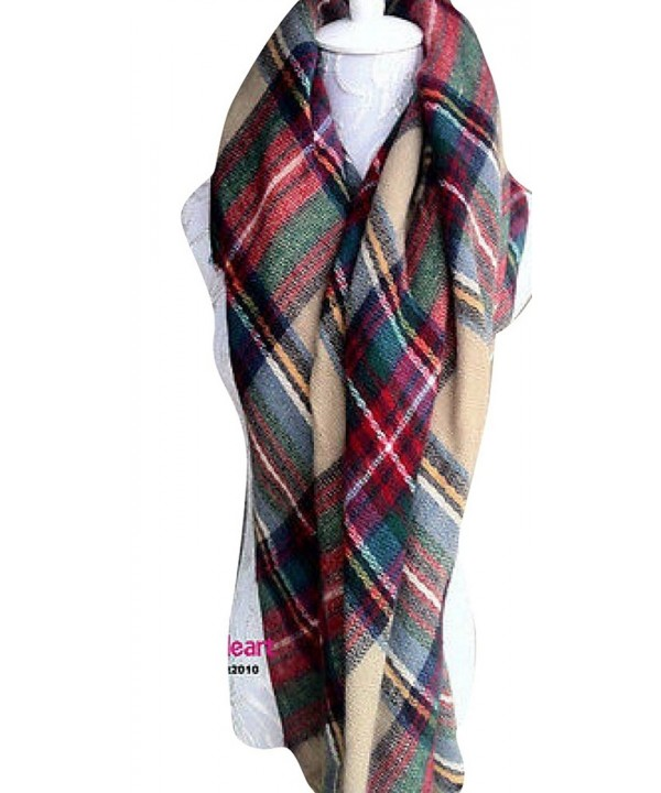 Fengbay Lady Large Tartan Scarf Shawl Stole Plaid Checked Pashmina Camel Green - CM11NRP1KR9