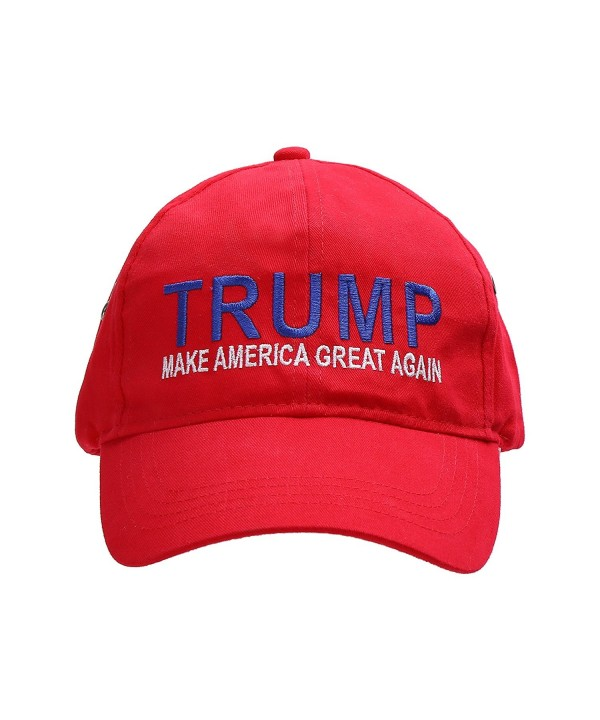 "Donald Trump 2016 Adjustable Adult Unisex Cap ""MAKE AMERICA GREAT AGAIN!"" Beautiful EMBROIDERED Text - Red - C4129SP2AZL"