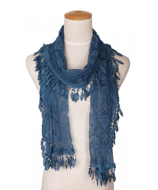 MissShorthair Floral Print Lace Scarfs for Women with Fringes - 24blue Luck Leaf - CJ183C94YED