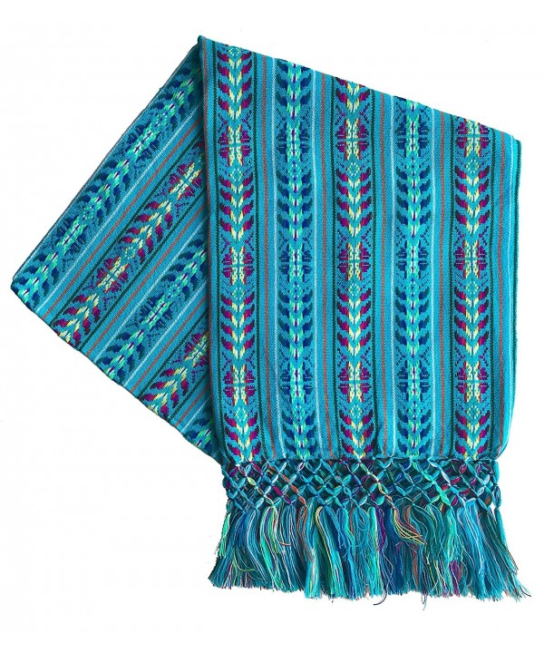 Mexican Handmade Colorful Rebozo Shawl - Cyan - CL187QXEKDT