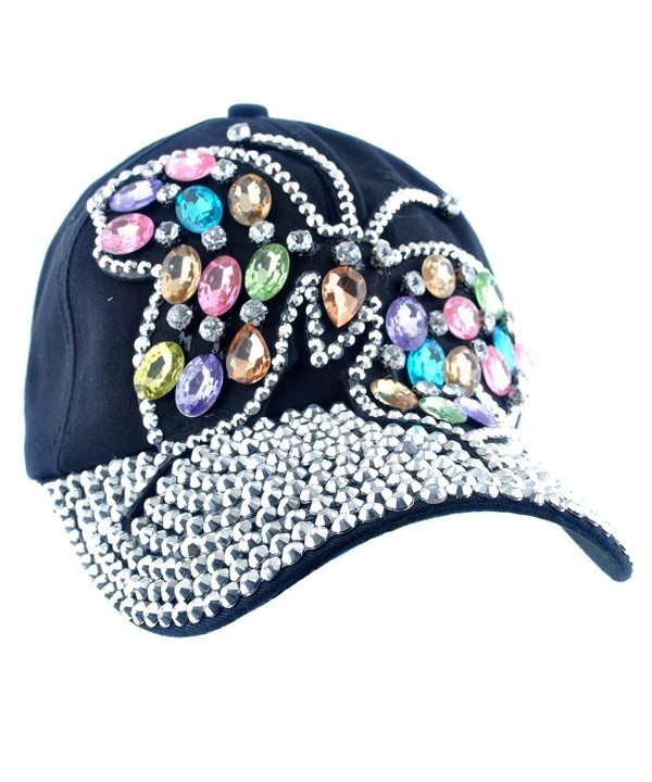 Elonmo Cute Big Butterfly Baseball Cap Jewel Rhinestone Bling Hats Jeans Wash Denim - Black - CP125K09YLR