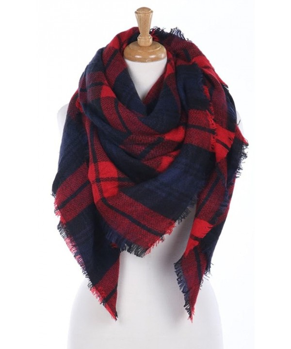 CCFW Women's Large Tartan Plaid Soft Square Blanket Scarf Wrap Shawl - Red Navy 55 - CV1868YOUM0