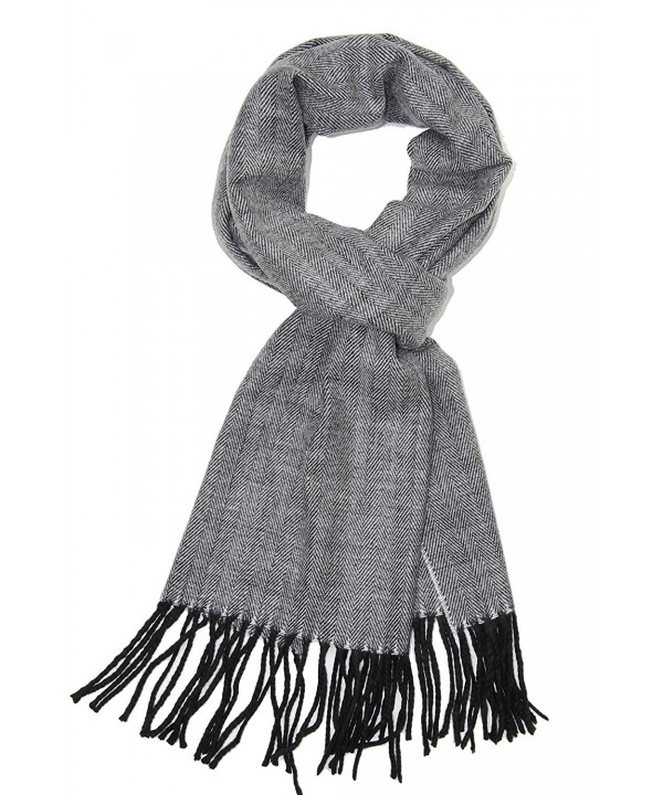 Achillea Soft & Warm Tartan Plaid Checked Cashmere Feel Winter Scarf Unisex - Black/Light Grey Herring Bone - CW12N0EW0UP