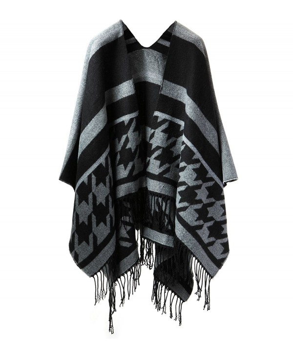 Womens Rich Solid Long Scarf- Soft and Warm Shawl Warp- Formal Party Scarf - Black Poncho Cape - CV1867XQYG5