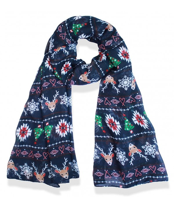 V28 Candy Cane Print Women's Scarf Christmas Gift Lightweight - Navy - Christmas - CF187O05TOA