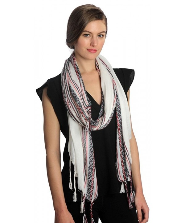 Funky Junque's White Multicolored Braided Tassel Fringe Tribal Print Boho Scarf - CT12GM6TB9D