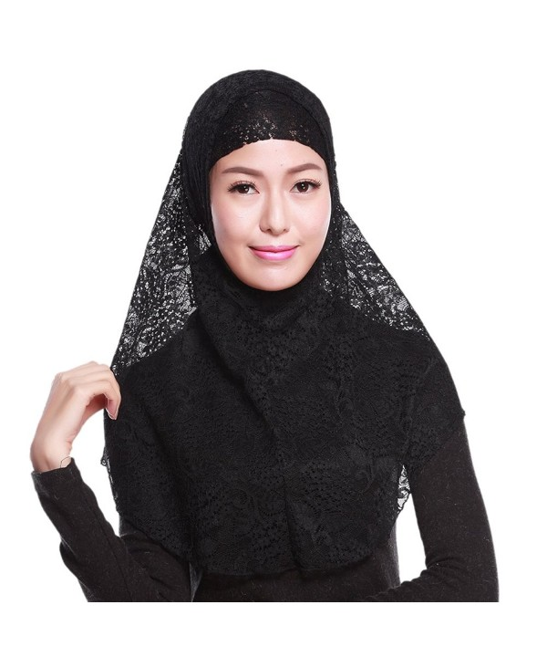 JYS Women's Moslem Islamic Hijab Shawls Soft Neck Head Wraps Cap + Scarf - Black - CK12MQLLXQH