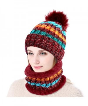 Vbiger 2-Pieces Winter Hat Scarf Mask Set- Warm Knit Beanie Hat and Scarf For Women - C-red - CV1882NZ44D