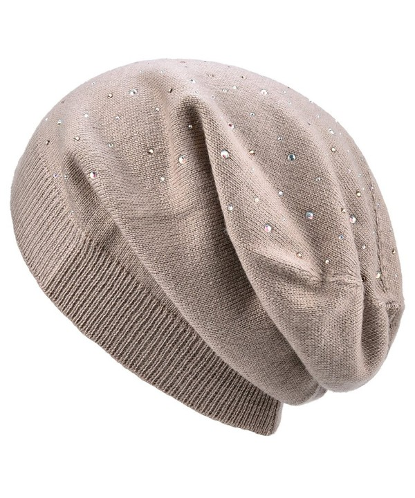SOMALER Womens Lightweight Thin Slouchy Beanies Spring Knitting Wool Baggy Hat-Single Layer Hat - Khaki - CM180EKMA95