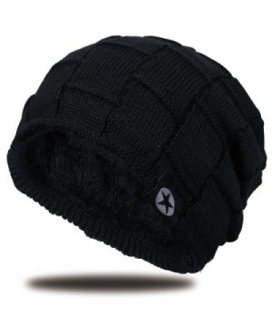 JNINTH Winter Knitting Beanie Knit Thick Slouchy Skull Cap For Men Women - Black - C5188X8Q0Z2