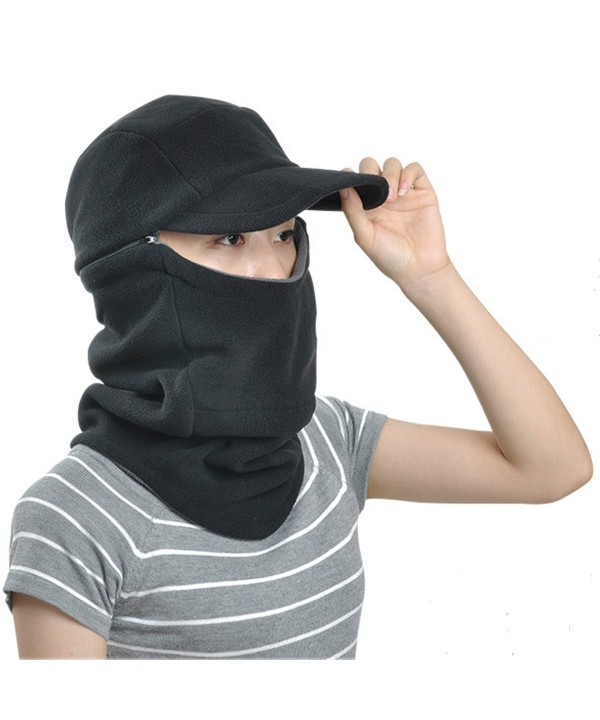 ECYC Masked Scarf Fleece Cap Hat Warm Windproof Balaclava for Women Men Winter - A04-black - CG120SO62CT