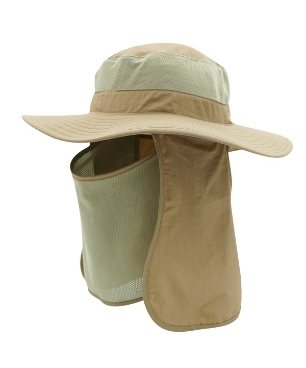 Home Prefer Men's Sun Hat Mesh Bucket Hat Detachable Neck Face Flap Hat Boonie Hat - Khaki - C312GXGLDOD