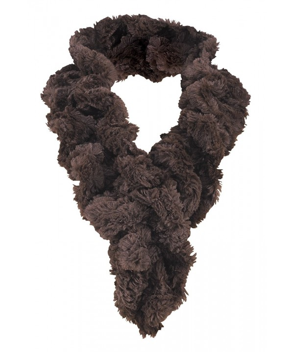 Women's Faux Fur Scarf - Scrunchie Loop Neck Wrap - Brown - C7187U762YY