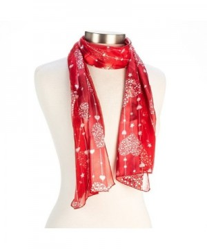 Heart- Flower or Clover Pattern Valentine's Day or Mother's Day Silk Feel Scarf - red star - CX11IRL9QTR