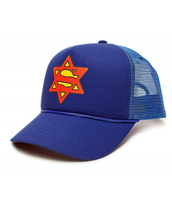 Super Jew Star Of David Funny Unisex-Adult One Size Trucker Hat Cap Royal - CG12J5BM3YH