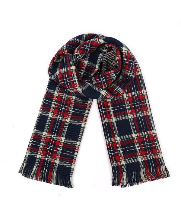 Women's Colorful Plaid Tartan Blanket Scarf Large Winter Shawl Wrap with Fringe - Red+Blue - CT12612JS1J