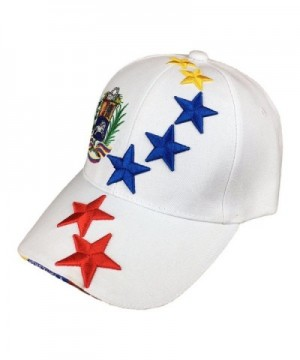 White Baseball Hat with Tricolor Stars from Venezuela - C117X3IGSWH