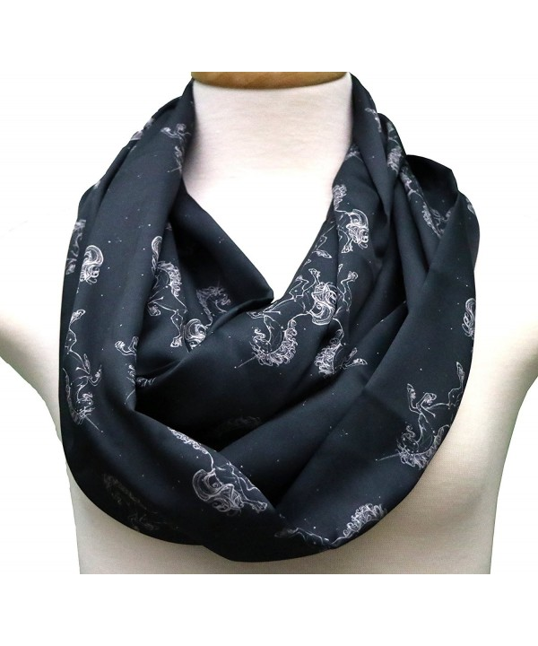 Handmade Unicorn Scarf Gift idea for her- birthday gift. Horse scarf infinity scarf - Black - C412NT4YBB0