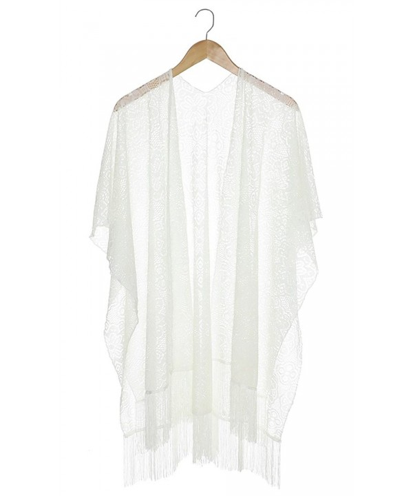 Capelli New York Solid Lace Kimono Scarf With Fringe - Ivory - CF11V2W377F