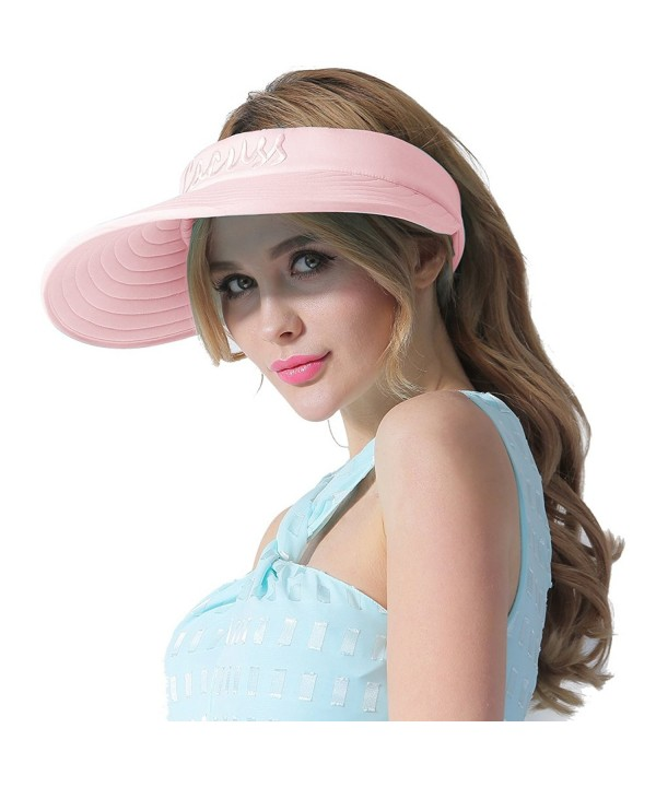 CACUSS Women's Summer Sun Hat Large Brim Visor Adjustable Velcro Packable UPF 50+ - Pink - CA17YDC7SH6