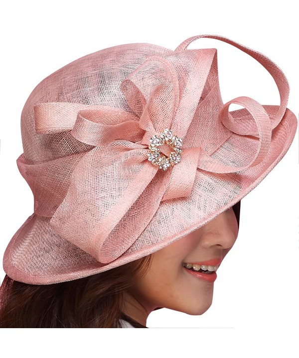 June's Young Women Hat Sinamay Summer Hat Ribbons Wide Brim(Fuschia) - CP11VLP2I8R