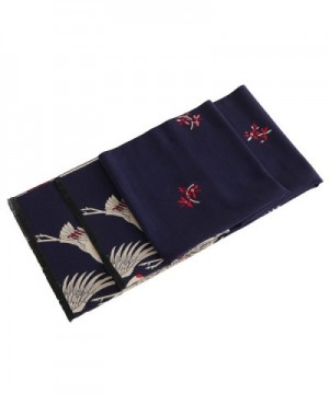 Women's Big Long Shawl Crane Pattern Japanese Winter Warm Scarf for Cold Weather - Navy Red - CH1880965X3