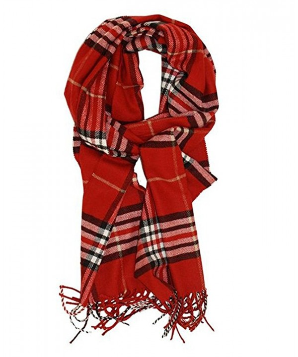 Plaid Scarf Dreamslink Classic Cashmere Feel Tartan Blanket Winter Scarf Shawl Wrap - Red Plaid - C4189NYLEQU