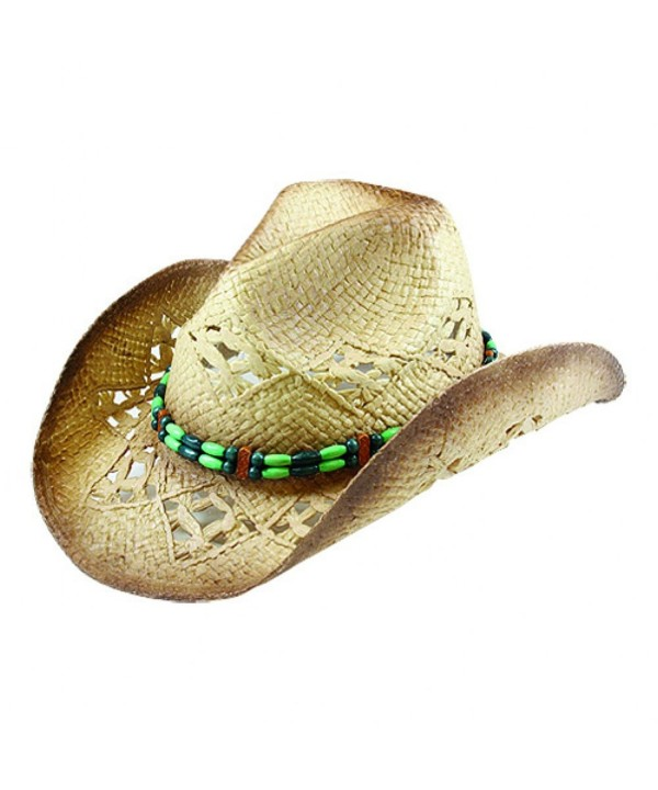 Western Cowboy Toyo Outback Hat w/ Green Beaded Hat Band - CJ125H241XT