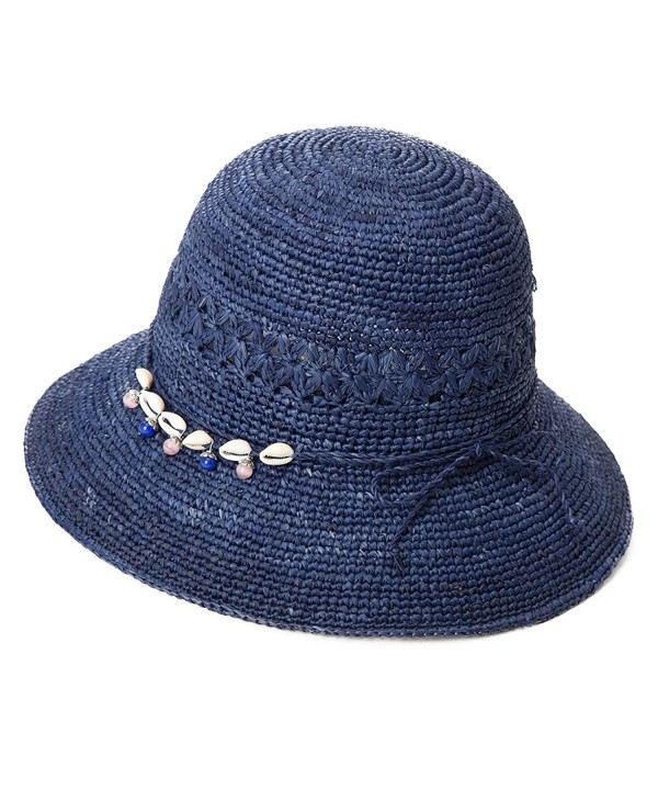 SIGGI Womens 100% Raffia Straw Crochet Hat Foldable UPF Seashell/Bow Decoration - 89306_navy - CU17XXR55GI