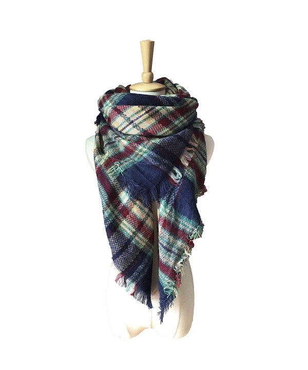 Synthiiz Soft Warm Tartan Plaid Scarf Shawl Cape Blanket Scarves Fashion Wrap - Navy - CL185ICODGY