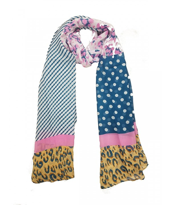 Elegant Fashion Chiffon Print scarf Lightweight And Soft for Summer - Blue/Multi - CR17Z3KGDW3
