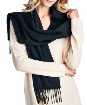 High Style 100% Lambswool wool Men and Women Scarfs (Various Colors and Designs) - Solid Black - CA126Y3S979