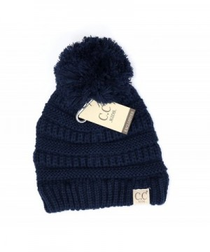 Crane Clothing Co. Women's Kids Solid Pom CC Beanies - Navy - CI1859OQHQ8