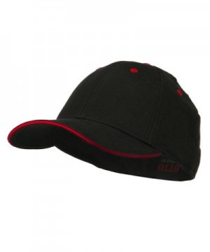 Stretchable Sandwich Bill Fitted Cap - Black Red - CQ11LUH72MN